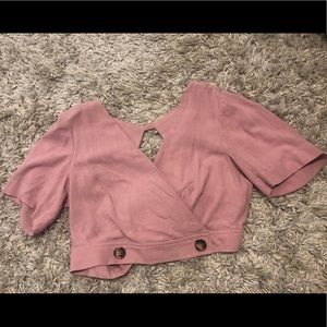 Topshop Tops - Brand New With Tags Topshop Tie Back Pink Crop Top